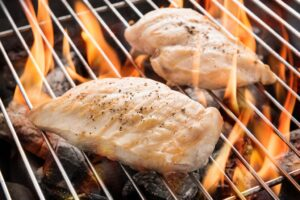 what is the temperature of cooked chicken breasts
